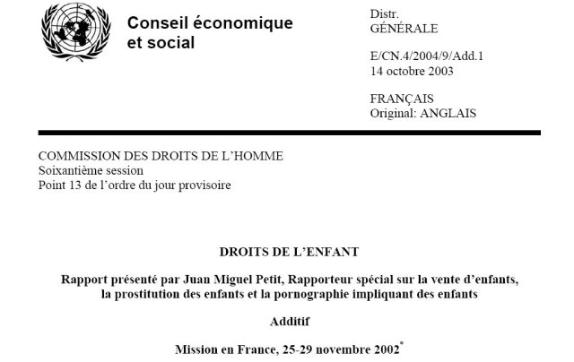 ONU Rapport Juan Miguel Petit 2003